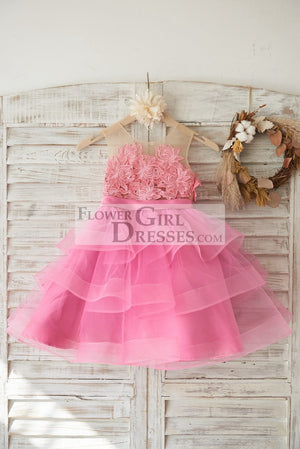 Cupcake Fuchsia Lace Tulle Wedding Flower Girl Dress with Horsehair Tulle Hem