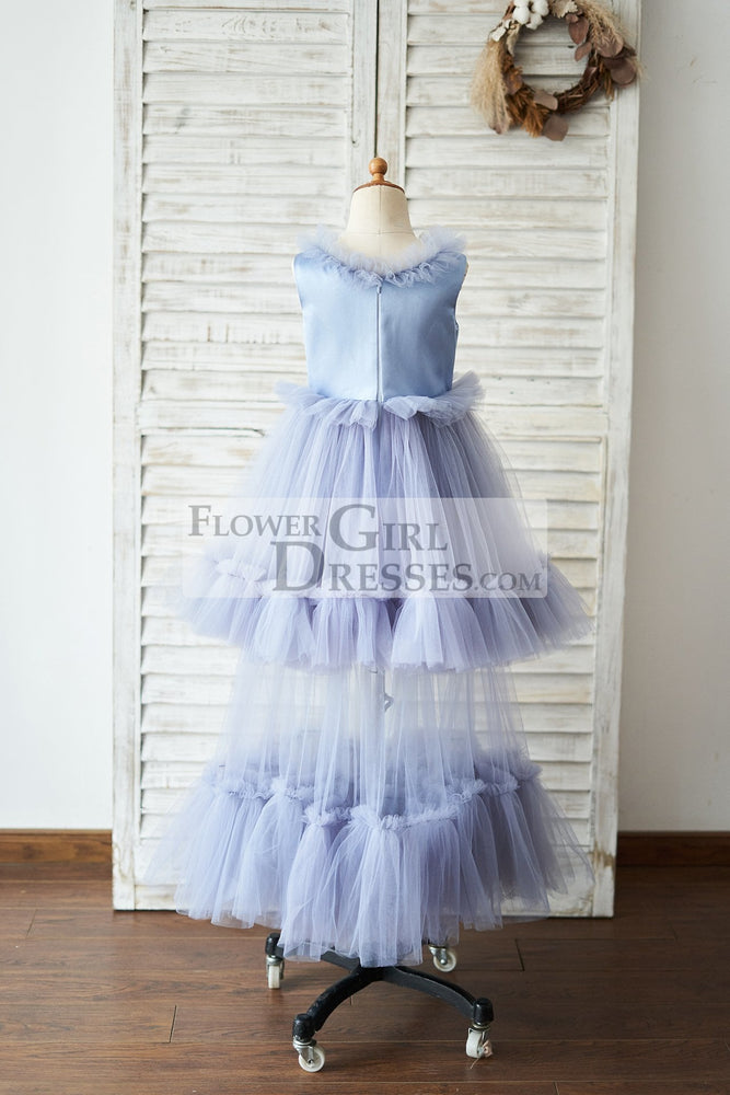 Dusty Blue Satin Tulle Cupcake Wedding Flower Girl Dress