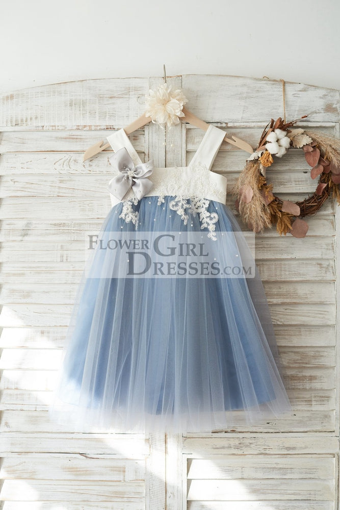 Dusty Blue Tulle Beaded Lace Wedding Flower Girl Dress
