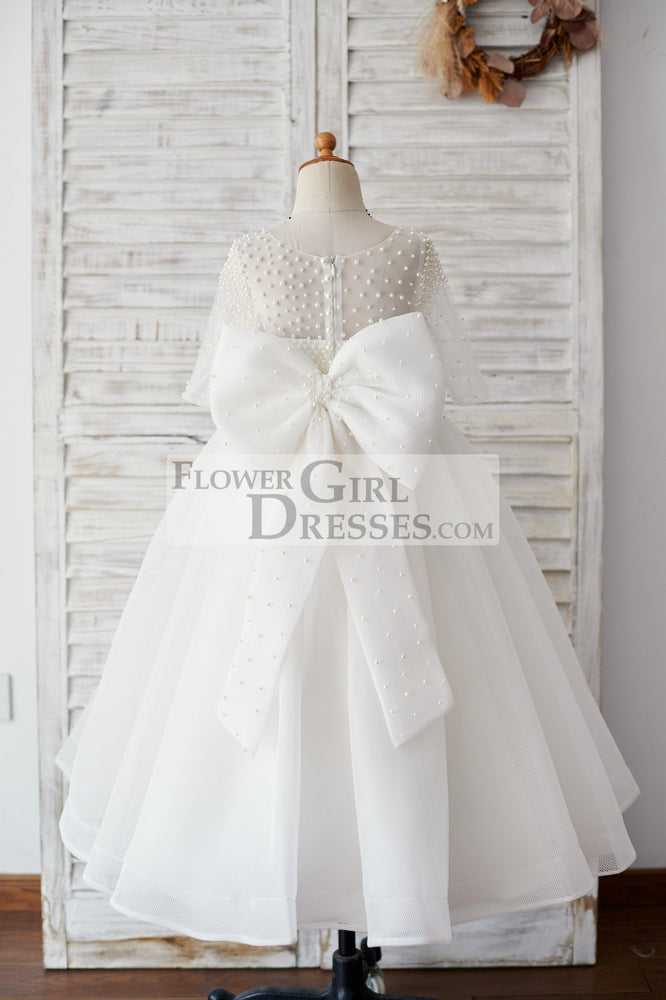 Elbow Sleeves Beaded Neoprene Tulle Wedding Flower Girl Dress with Bow