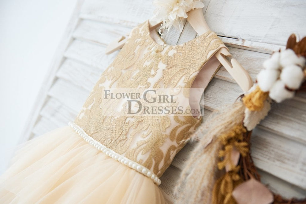 Gold Lace Champagne Ruffle Tulle Wedding Flower Girl Dress with Pearl Belt