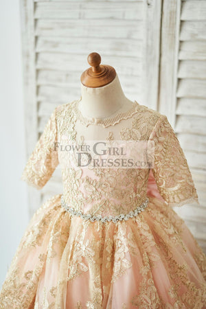 Gold Lace Pink Lining Short Sleeves V Back Wedding Flower Girl Dress
