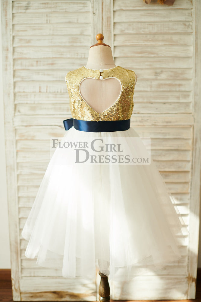 Gold Sequin Ivory Tulle Keyhole Back Wedding Flower Girl Dress