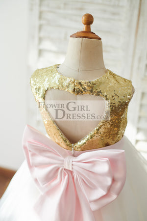Gold Sequin Ivory Tulle Keyhole Back Wedding Flower Girl Dress with Bow