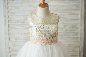 Gold Sequin Ivory Tulle V Back Wedding Flower Girl Dress with Pink Lace Belt