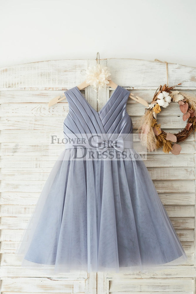 Gray Satin Tulle V Neckline Wedding Flower Girl Dress with Belt