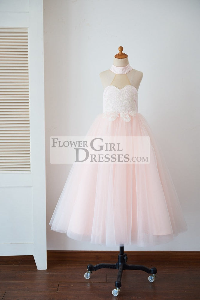 Halter Neckline Ivory Lace Pink Tulle Sheer Back Wedding Flower Girl Dress