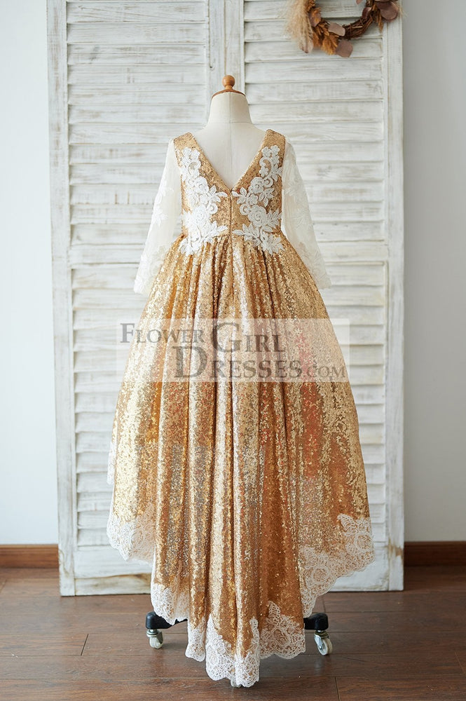 Hi Low Gold Sequin Ivory Lace Tulle Long Sleeves V Neck Wedding Flower Girl Dress