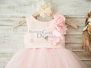 Hi-low Pink Dot Tulle Wedding Flower Girl Dress with 3D Flowers