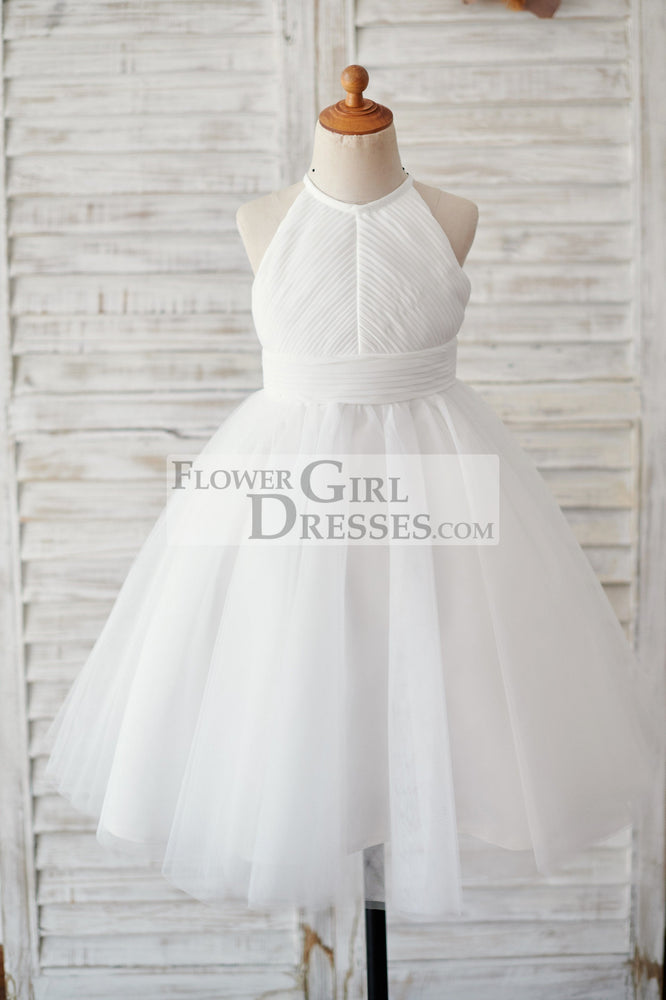 Ivory Chiffon Tulle Halter Neck Keyhole Back Wedding Flower Girl Dress
