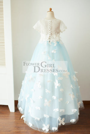 Ivory Lace Blue Tulle Short Sleeves Wedding Flower Girl Dress Full Length Party Dress with Butterfly