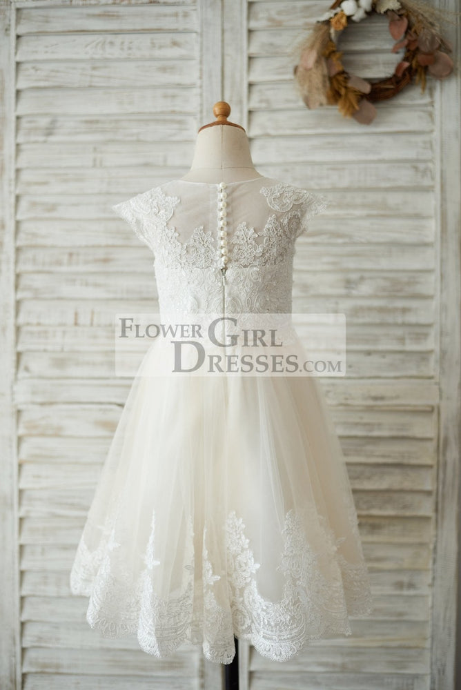 Ivory Lace Champagne tulle Cap Sleeves Wedding Flower Girl Dress with Beading