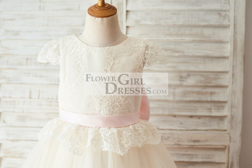 Ivory Lace Champagne Tulle Cap Sleeves Wedding Flower Girl Dress with Open Back / Bow