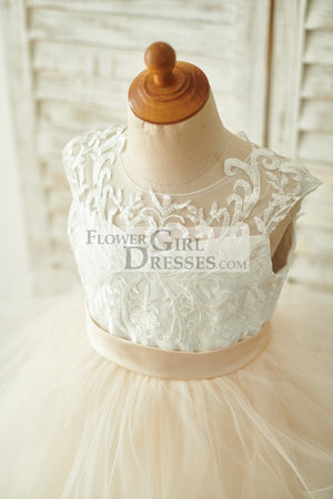 Ivory Lace Champagne Tulle Floor Length Wedding Flower Girl Dress