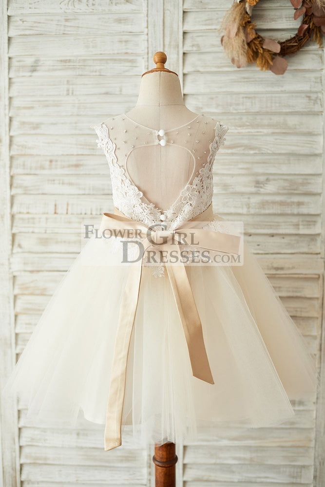 Ivory Lace Champagne Tulle Keyhole Back Wedding Party Flower Girl Dress with Belt