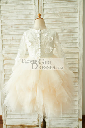 Ivory Lace Champagne Tulle Long Sleeves Wedding Flower Girl Dress