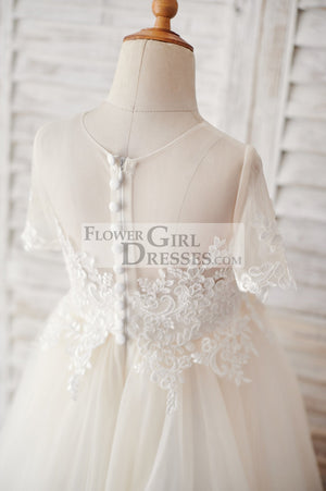 Ivory Lace Champagne Tulle Short Sleeves Wedding Flower Girl Dress