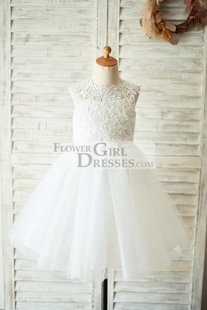 Ivory Lace Champagne Tulle Wedding Flower Girl Dress with Keyhole Back - 1T / Ivory