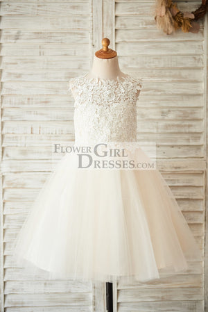 Ivory Lace Champagne Tulle Wedding Flower Girl Dress with Keyhole Back - 1T / Champagne