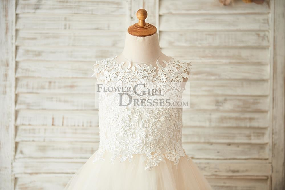 Ivory Lace Champagne Tulle Wedding Flower Girl Dress with Keyhole Back