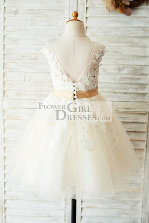 Ivory Lace Champagne Tulle Wedding Party Flower Girl Dress with V Back