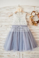 Ivory Lace Gray Tulle Sheer Back Wedding Flower Girl Dress with Belt