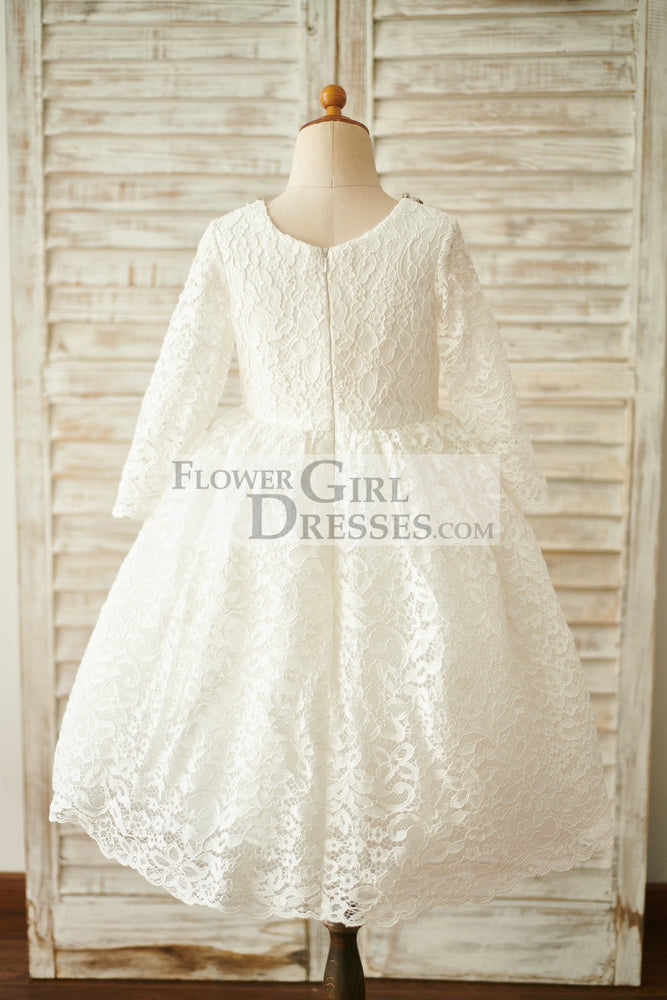 Ivory Lace Long Sleeves Wedding Flower Girl Dress with Beading Neck