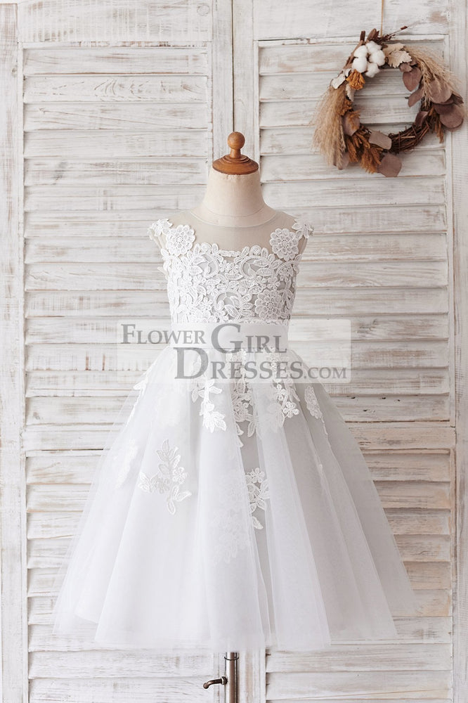 Ivory Lace Mauve/Silver Gray Tulle Wedding Flower Girl Dress - 1T / Gray