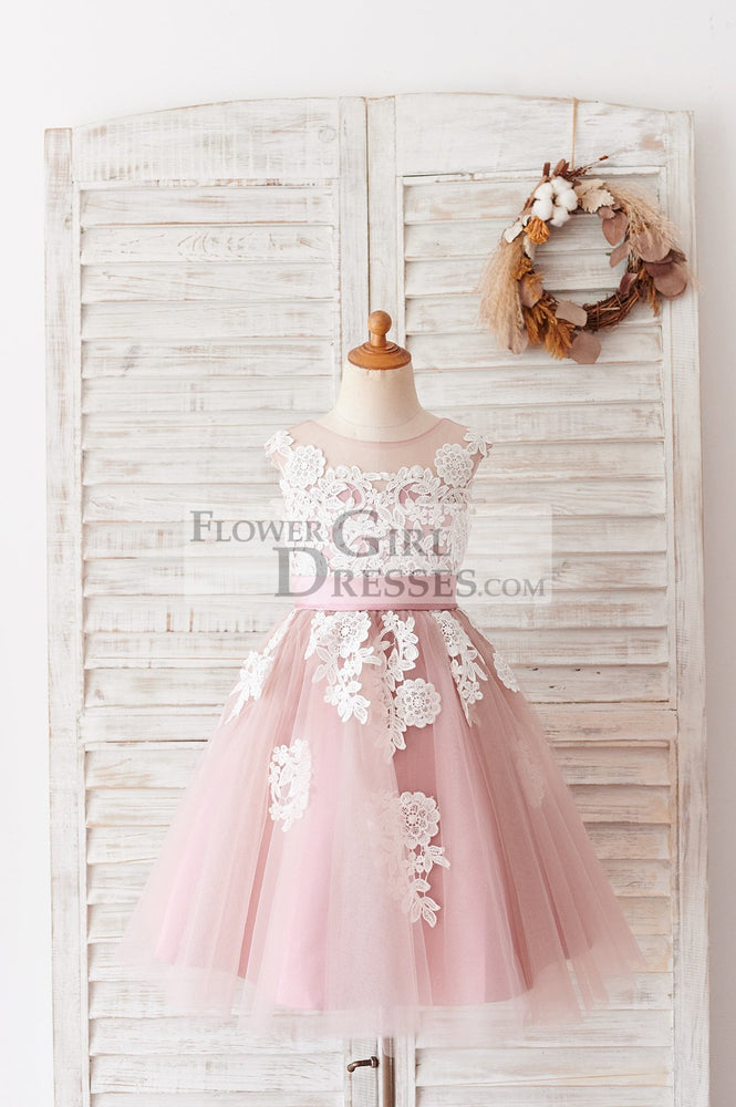 Ivory Lace Mauve/Silver Gray Tulle Wedding Flower Girl Dress - 1T / Mauve