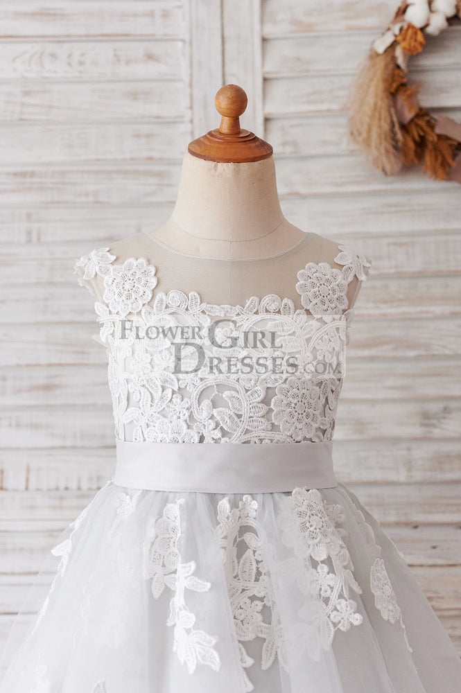 Ivory Lace Mauve/Silver Gray Tulle Wedding Flower Girl Dress