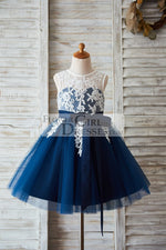 Ivory Lace Navy Blue Tulle Wedding Flower Girl Dress with V Back