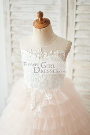 Ivory Lace Peach Pink Cupcake Tulle Keyhole Back Wedding Flower Girl Dress