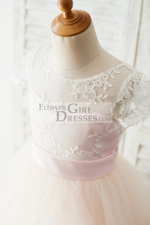 Ivory Lace Pink Tulle Cap Sleeves Wedding Flower Girl Dress with Horsehair Hem