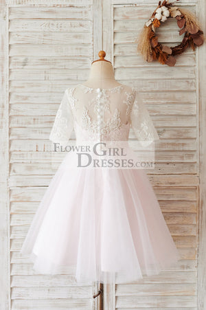 Ivory Lace Pink Tulle Short Sleeves Wedding Flower Girl Dress