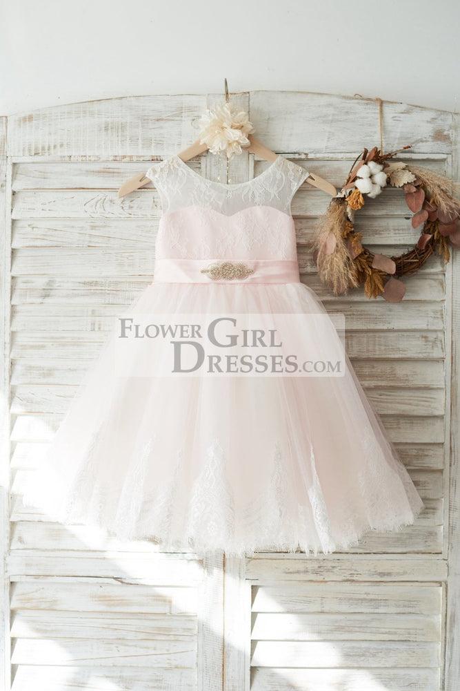 Ivory Lace Pink Tulle Slit Back Wedding Flower Girl Dress with Beaded Belt