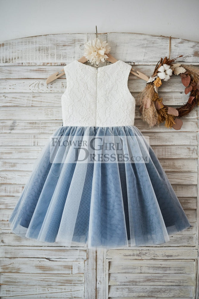 Ivory Lace Silver Gray Tulle Wedding Flower Girl Dress with Navy Blue Appliques\Beads