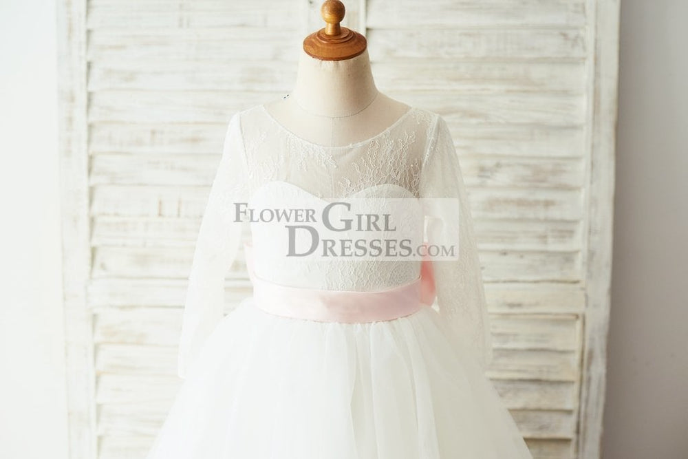 Ivory Lace Tulle Long Sleeves V Back Wedding TUTU Flower Girl Dress with Pink Bow