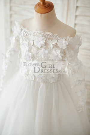 Ivory Lace Tulle Off Shoulder Long Sleeves Wedding Flower Girl Dress with 3D Flowers