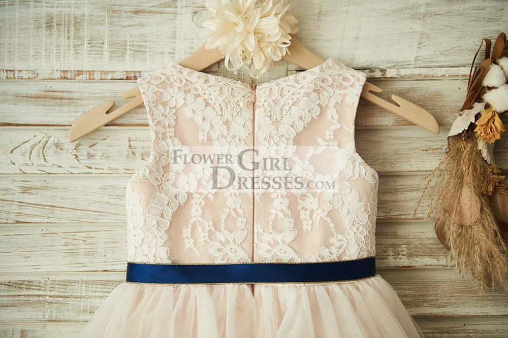 Ivory Lace Tulle Pink Lining Wedding Flower Girl Dress with Navy Blue Sash