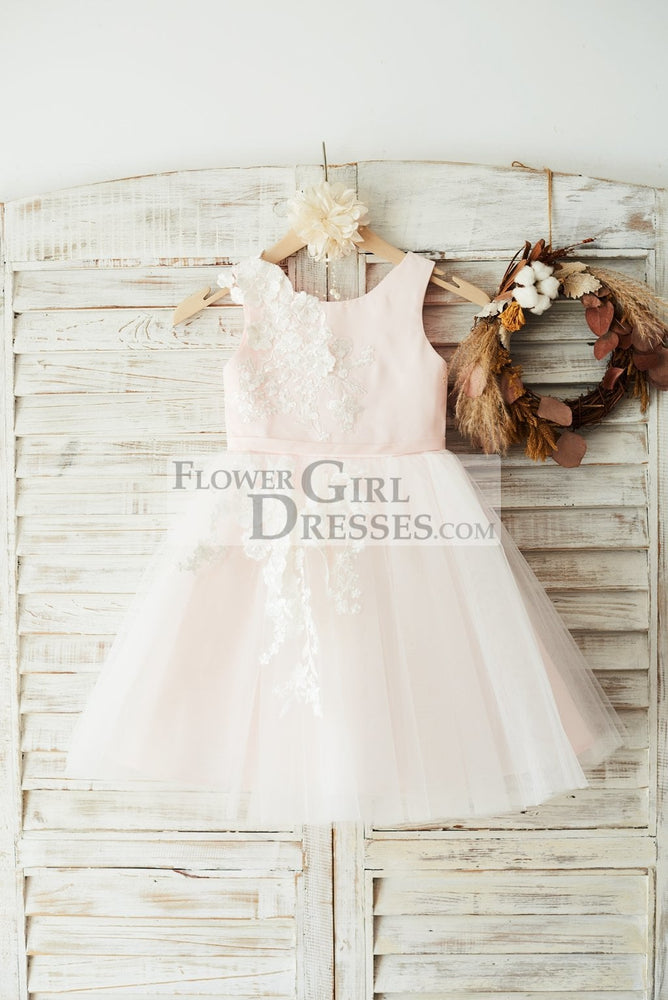 Ivory Lace Tulle Pink Satin Wedding Flower Girl Dress Junior Bridesmaid Dress