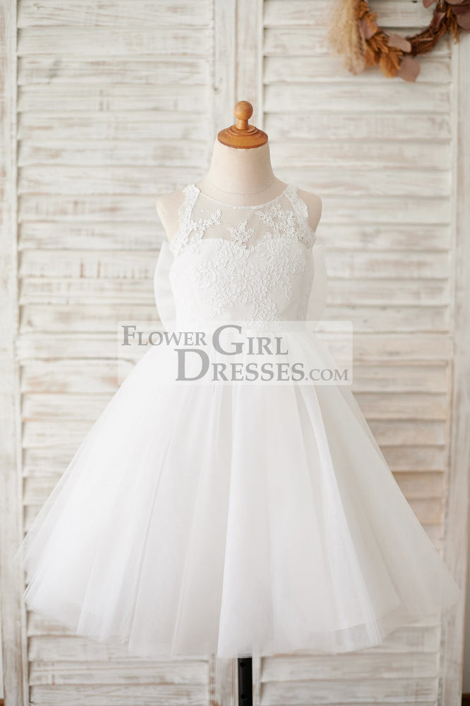 Ivory Lace Tulle Spaghetti straps Halter Neck Wedding Flower Girl Dress with Bow