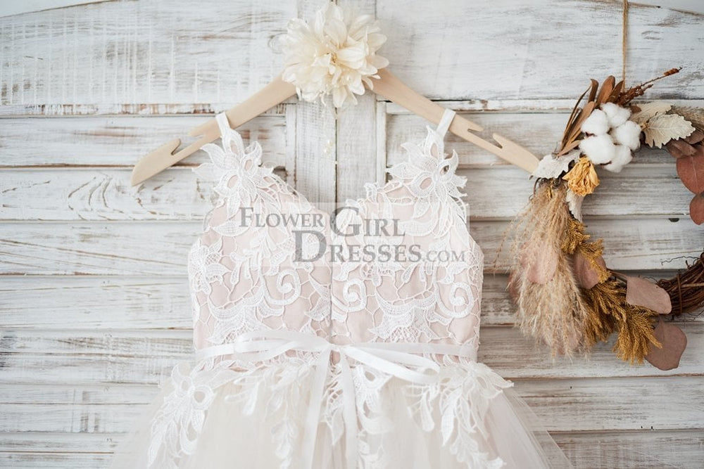 Ivory lace Tulle Spaghetti straps Wedding Flower Girl Dress with Beaded Belt