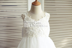 Ivory Lace Tulle V Back Wedding Flower Girl Dress with Big Bow