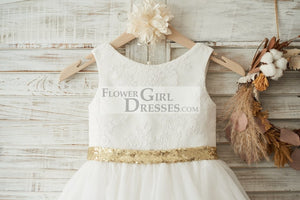 Ivory Lace Tulle V Back Wedding Flower Girl Dress with Gold Sequin Bow