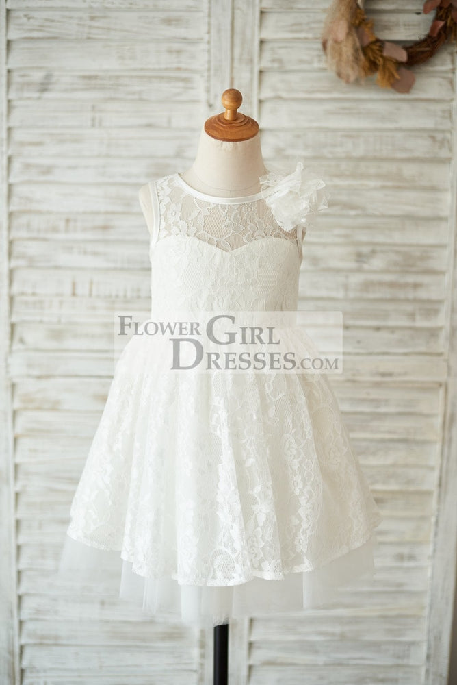 Ivory Lace Tulle V Open Back Wedding Flower Girl Dress with Flower