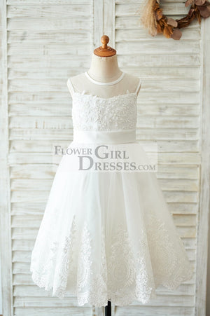 Ivory Lace tulle Wedding Flower Girl Dress with bows