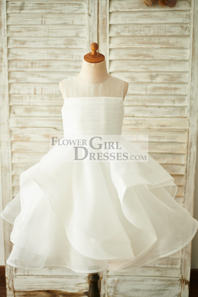 Ivory Organza V Back Wedding Flower Girl Dress