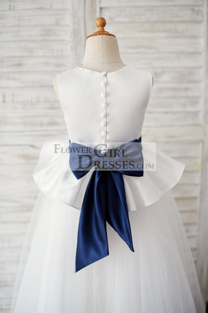 Ivory Satin Tulle Wedding Flower Girl Dress with Navy Blue Belt