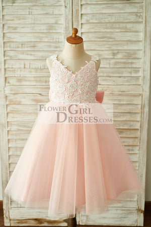 Lace Tulle Spaghetti straps Wedding Flower Girl Dress with Bow