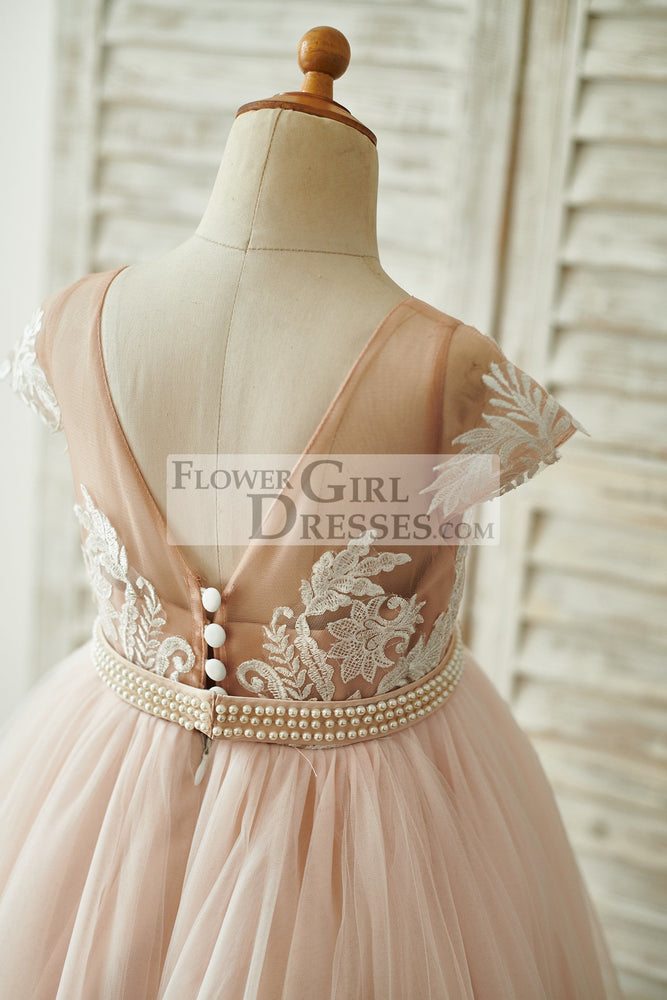 Lace Tulle V Back Cap Sleeves Floor Length Wedding Flower Girl Dress